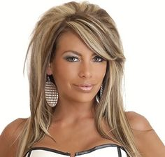 Mixed Color Teased Layered Straight Synthetic Hair With One Side Part Bangs Capless Cap Wigs 16 Inches Brown Hair With Blonde Highlights, Hair Highlights, Caramel Highlights, Ash Blonde, Platinum Blonde, Blonde Hair With Brown Underneath, Funky Highlights, Bright Blonde, Love Hair