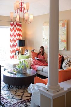 coral | chevron | pattern | pops of color - I interviewed her for Charlotte magazine and her entire place is so cute! I loved every aspect of it.
