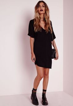 Wide V Neck T-Shirt Dress Black - Dresses - T-Shirt Dresses - Missguided