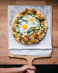 White Pizza with Pecorino, Scallions, & Egg | A Couple Cooks