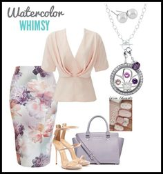 Spring Summer Outfit Lavender Outfit featuring Origami Owl Locket Origami owl flower window plate Floral Outfit #origamiowl #outfits