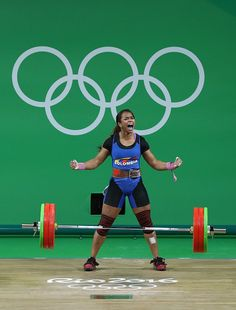 #RIO2016 Leidy Yessenia Solis Arboleda of Colombia reacts after lifting during the Women's 69kg Group A weightlifting contest on Day 5 of the Rio 2016 Olympic...