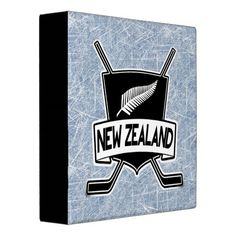 New Zealand Ice Hockey Flag Folder 3 Ring Binders. Great for hockey card collections!  To see this design on the full range of products, please visit my store: www.zazzle.com/gamefacegear*/ #Hockeycards #IceHockey