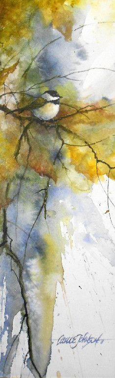 Chickadee in Fall .. Lance Johnson watercolour. I can't tell you how much I love this.
