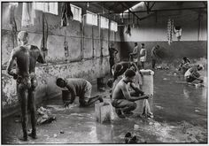 """by Ernest Cole From House of Bondage, on Apartheid South Africa, published """"No known caption. According to Struan Robertson, washing conditions at the mines were primitive. Shower rooms were crowded with men trying to bathe while others did. African Babies, Pokemon, Cultural Appropriation, Apartheid, Iconic Photos, Dslr Photography, African Diaspora, Historical Quotes, African History"""