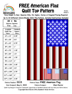 (7) Name: 'Quilting : 0115 American Flag Quilt Pattern
