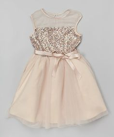 Another great find on #zulily! Gold Sequin Tulle Dress - Girls #zulilyfinds