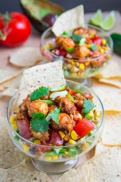 Chipotle Lime Shrimp and Guacamole Dip with Tomatoes and Charred Corn | Closet Cooking