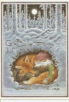 Old Norwegian yule card. Love the fox and the yule elf. Swedish Christmas, Noel Christmas, Vintage Christmas Cards, Scandinavian Christmas, Winter Christmas, Xmas, Yule, Christmas Illustration, Illustration Art