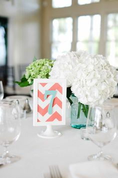 Show Ad - Aqua and Coral Wedding Decor - Maryland - Decor | Weddingbee....really like this if I chose to do aqua,coral, white and green...and if I wanted to incorporate chevron. very nice.