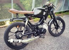 Look at a handful of my best builds - specialty scrambler motorcycles like this Tomos Moped, Moped Motorcycle, Motorcycle Design, Motorcycle Quotes, Vespa Scooters, Suzuki Cafe Racer, Cafe Racer Build, Custom Moped, Custom Paint Motorcycle