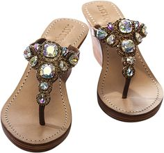 Mystique bronze & crystal wedge sandals. These Mystique sandals in a full wedge with bronze leather straps and clear crystals are just to die for.