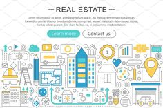Real estate property concept. by Lemberg Vector on @creativemarket Real Estate Icons, Lorem Ipsum, Infographic, Banner, Design Inspiration, Concept, Ads, Marketing, Illustration
