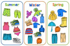 Clothing Sort- Pocket Chart Activity By Gwyn April 2016 // No commentsClothing Sort- Pocket Chart Activity Weather Activities For Kids, Preschool Weather, Seasons Activities, Name Activities, Sorting Activities, Preschool Activities, Teaching Weather, Zoo Phonics, Phonics Cards