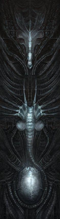 Alien Queen Mural #Alien #Aliens #Alien3 #Xenomorph #Xeno #AlienQueen #XenomorphQueen #AvP #AvP2 #AlienVsPredator #AliensVsPredator Arte Alien, Arte Sci Fi, Alien Art, Hr Giger Art, Saga Art, Giger Alien, Predator Alien, Biomechanical Tattoo, Alien Queen