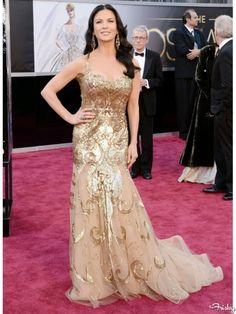 2013 Academy Awards Red Carpet: Catherine Zeta Jones in gold gown