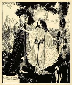 I was looking for coloring De-Stress ideas for my relative with cancer while she's recovering. Good art-therapy-type meditation on Female Goddess powers starving illness. 'La belle dame sans merci' by Robert Anning Bell Art And Illustration, Black And White Illustration, Ink Illustrations, Au Hasard Balthazar, Art Nouveau, Bell Art, Gustave Dore, Fantasy Kunst, Wood Engraving