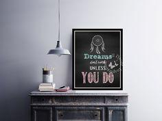 Dreams don't work   #Dreamcatcher   #Chalkboard     #Motivation   #Inspiration   #Quote   #ArtPrint   #Typography   #HomeDecor Print   #Printable by InspirationWallDecor on Etsy