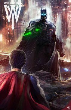 Superman vs Batman armadura - DC Comics - 11 x 17 impreso Digital