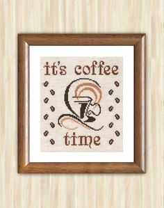 Cross Stitch Pattern PDF It's coffee time Gift brown coffee mug needlework pattern chart coffee silhouette pattern embroidery cup Hand Made (5.50 USD) by TimeForStitch