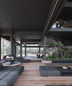 Moskow_house on Behance Showroom Interior Design, Patio Interior, Interior Exterior, Contemporary Architecture, Interior Architecture, Minimalist Architecture, Modern Villa Design, Dream Home Design, Foyers