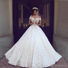 2017 New Vintage Lace Wedding Dresses Sexy Off The Shoulder Short Sleeves Applique Sweep Train A Line Wedding Bridal Gowns Custom Made A Line Formal Dresses A Line Wedding Dresses With Sleeves From Blissbridal, $171.86| Dhgate.Com