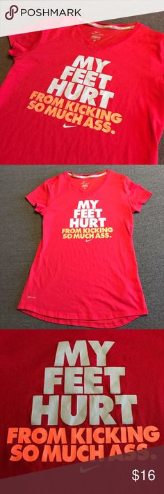 Nike Short Sleeve Dri Fit Dry Fit Tee T Shirt Bright pink, coral colored Nike shirt. Size small. Grey and neon saying on front. Can bundle with other Nike items in my closet for savings :) Nike Tops Tees - Short Sleeve