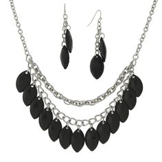 1928 Jewelry Dramatic Silvertone Multi-layer Chains with Black Navette Drops Bib Necklace and Earrings Set | Overstock.com Shopping - The Best Deals on Jewelry Sets
