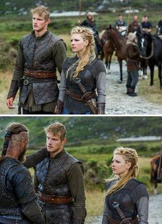 Vikings (series 2013 - ) Starring: Travis Fimmel as Ragnar Lothbrok, Alexander Ludwig as Bjorn Lothbrok and Katheryn Winnick as Lagertha. Father and son reunited after many years.