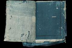 Yuko Kimura Sample Book IV, 2016 Etching, aquatint, indigo pigment on worm eaten book pages from Japan and handmade paper (abaca, gampi, kozo), paper thread and shifu 7 x 4.5 inches 17.8 x 11.4 cm YuK 50