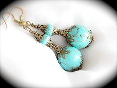 Turquoise Howlite Neo Victorian Earrings
