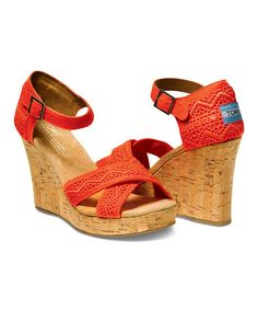 Look what I found on #zulily! Coral Crochet Wedge Sandal by TOMS #zulilyfinds