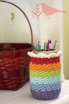 Love The Blue Bird: Crocheted Mason Jar Cover... I saw this in Mollie Makes magazine and scooted over to this lovely blog. Must try this jar cover!