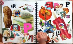 Alphabet book made with magazine clippings.