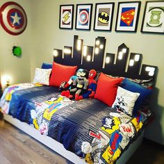 All about superheroes! The custom lit headboard is amazing!💥⚡️🏙Credit to @clutterbug_me