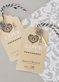 """Seat guests at your vintage wedding with these clever """"Love is the key to Happiness"""" Escort Cards. The perfect blend of modern flair and rustic elegance. Each antique looking place card """"tag"""" has a miniature vintage key threaded to it with twine. Guests will be delighted to aquire a """"key"""" to your exclusive event. Features and Facts:  Size: Key length 2.25"""", card 4.5"""" x 2.5"""".  Made of cardstock paper."""