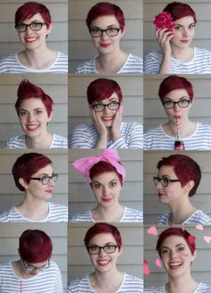 red cropped pixie hair