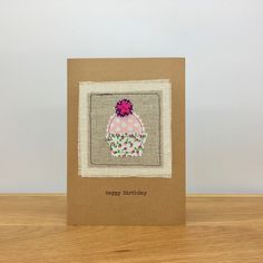 Fabric Applique Greeting Card ~ Handmade ~ Happy Birthday ~ Cupcake by StickandPasteCards on Etsy Personalized Birthday Cards, Handmade Birthday Cards, Greeting Cards Handmade, Special Birthday Cards, Happy Birthday Cupcakes, Etsy Uk, I Card, Applique, Place Card Holders
