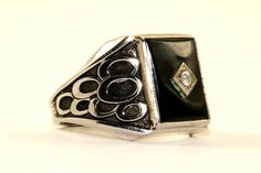 This is Vintage Mens Onyx Design Signet Ring  Condition: Vintage Metal: Sterling (.925) Silver Weight: 8.8 grams Size: 10.5-11  Images you see are actual pictures of jewelry you will receive Every purchase comes thoughtfully packaged and ships within 1 business day New York State buyer will be charged sales tax Feel free to contact us with any questions. We are open Mon-Fri 9-5 EST We appreciate your business