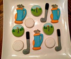 12 golf theme sugar cookies by BakeMyDayCookies on Etsy, $36.00