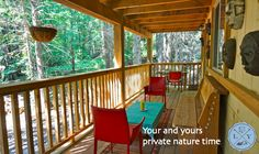 Treat yourself to a relaxing escape in nature with a private luxury cabin tucked away in the forest. Luxury Cabin, Valance Curtains, Outdoors, Windows, Rustic, Nature, Design, Home Decor, Country Primitive