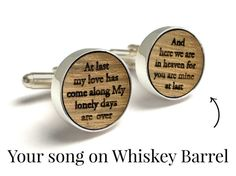 These handcrafted cufflinks are THE most unique gift idea for your man... Completely customizable and made from an authentic reclaimed Whiskey Barrel. The durable oak is set in silver plated cufflinks, in a luxurious keepsake box. Your boyfriend or husband is going to LOVE this gift!  Perfect as wedding cufflinks or as an anniversary gift (The traditional 5th anniversary gift is WOOD-- it symbolizes strength, stability & putting down roots).  ◆DETAILS◆ ✓ Authentic Reclaimed Whiskey Barrel...