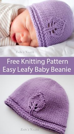 Free Knitting Pattern for Easy 1 Skein Leafy Baby Beanie Hat - Very simple beanie worked in reverse stockinette with one leaf motif which puts the smoother stockinette side next to baby's skin. Baby Knitting Patterns Free Newborn, Newborn Knit Hat, Knitted Baby Beanies, Baby Hat Knitting Pattern, Baby Hat Patterns, Baby Hats Knitting, Easy Knitting Patterns, Free Knitting, Knitting Projects