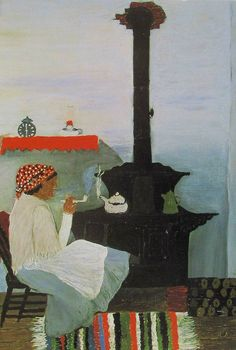 Interior - Horace Pippin 1944 - oil on canvas - 61.2 x 76.6 cm