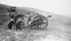 A Howitzer of 'C' Battery, CXVII (Howitzer) Brigade, firing from a hilltop position probably in the 'Birdcage' defence line north of the city of Salonika. Behind The Lines, Royal Engineers, British Armed Forces, British Army, World War I, Family History, First World, Ww2, Military