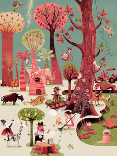 French illustrator Gwen Keraval's Happywood