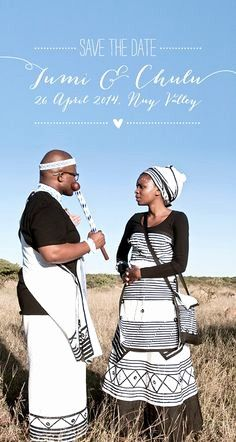 Love the mix of traditional and quirky in this save the date Zulu Traditional Wedding Dresses, South African Traditional Dresses, Traditional Dresses Designs, Traditional Skirts, Traditional Outfits, Traditional Weddings, Xhosa Attire, African Attire, Seven Swans