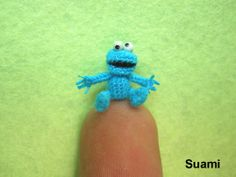 Extreme Micro Cookie Monster - Mini Tiny Crochet Character Blue Monster - Made To Order. $120.00, via Etsy.