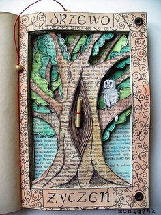"Carve love scene or romantic image we dream about in front half of book - make a mini key like here in tree when turned it can fit down in hole - opening the secret back department - place for my ""love me knot"" letters ♡"