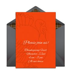 """Gotta love this free """"Turkey Outlines"""" invitation design. It's great for a Thanksgiving feast or a Friendsgiving. Easily personalize and send via email."""